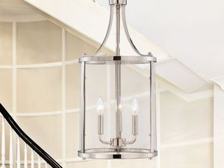 Savoy House Penrose 3 light Small Foyer lantern in Polished Nickel