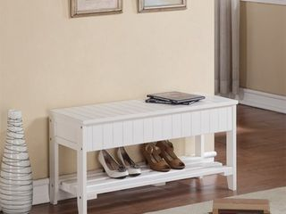 Roundhill Solid Wood Storage Shoe Bench