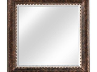 American Art Decor Hartley Medium Square Oil Rubbed Bronze Textured Accent Framed Beveled Wall Vanity Mirror   Brown