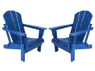 laguna Outdoor Folding Patio Poly Adirondack Chair  Set of 2