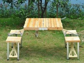 Outsunny 4 Person Wooden Portable Picnic Table