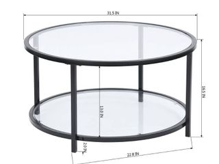 36  Modern 2 later 5mm Glass Top Round Coffee Table