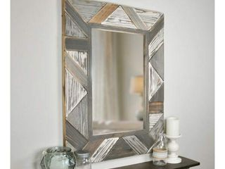 31 5  x 23 5  Silas Salvaged Planks Mirror Gray   FirsTime