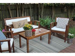 Grey Stripe Indoor Outdoor Reversible Plastic Area Rug