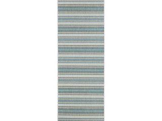 Samantha Sand Stripe Ivory Blueish Green Indoor Outdoor Runner Rug   2 3  x 11 9  Runner