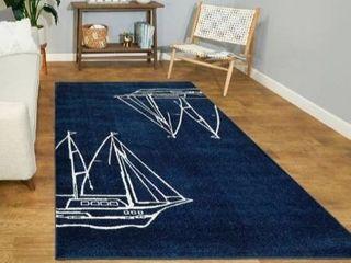 83 x63  Blue Sailboats Rug