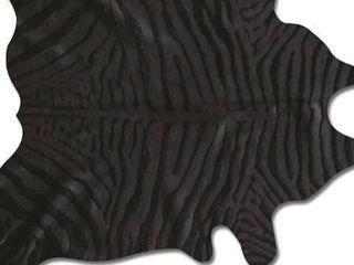 cowhide rug Approximately 7 x6  zebra black on black