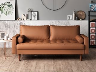 US pride faux leather mid century modern brown 3 seater sofa