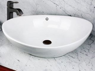 Highpoint Collection 23 inch White Ceramic Oblong Bathroom Vessel Sink