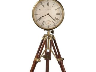 Howard Miller Time Surveyor Cherry Wood Glass Vintage Transitional Old World Tripod Mantel Clock with Antique Brass Accents  Retail 219 00