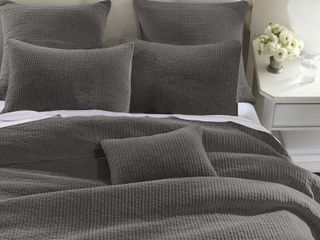 HiEnd Accents Stone Washed Cotton Velvet Quilt Set  Full Queen Taupe  Retail 254 99