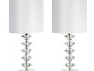 Silver Orchid August Clear Crystal Table lamp  Set of 2  Retail 121 99