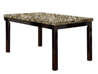 Slick Finish Faux Marble   Pine Wood Dining Table  Brown  Retail 397 49