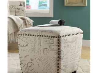 Copper Grove Astilbe French Script Beige Upholstered Ottoman  Retail 121 49