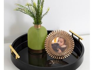 Kate and laurel lipton Round Decorative Tray with Metal Handles