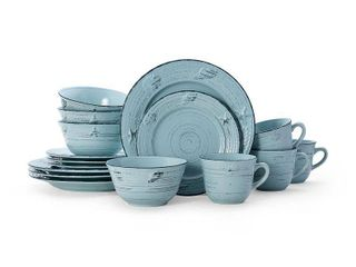 Pfaltzgraff Trellis Teal Coastal 16 picece Dinnerware Set  Service for 4