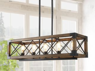 Farmhouse Rectangle Wooden linear Chandelier Sloped Ceiling lighting  Retail 358 99