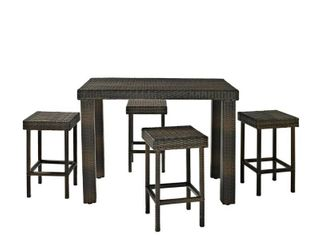 Palm Harbor 5 Piece Outdoor Wicker High Dining Set  Retail 394 49