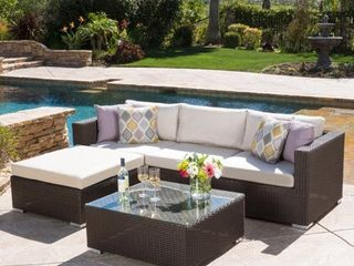 Santa Rosa Outdoor 5 piece Wicker Seating Sectional Set with Cushions by Christopher Knight Home   COFFEE TABlE ONlY
