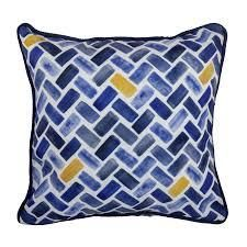 Herringbone Outdoor Pillow 17 In  Sq with piping