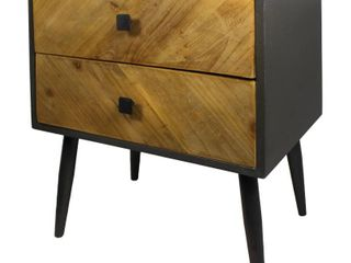 Carson Carrington Vindfalle Rustic Wood Two tone 2 Drawer Nightstand  Retail 163 49