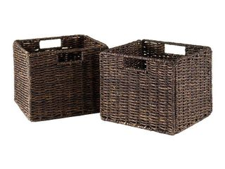 Winsome Wood Granville 2 PC Small Folding Corn Husk Baskets  Chocolate