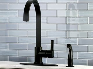 Modern Black Centerset Kitchen Faucet with Side Sprayer  Retail 155 99