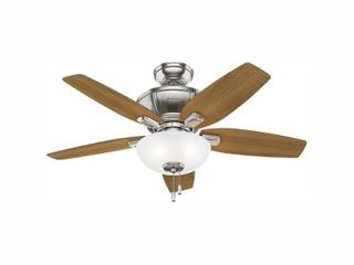 Hunter 42  Kenbridge Brushed Nickel Ceiling Fan with light Kit and Pull Chain
