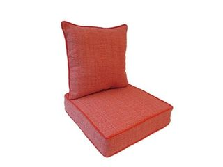 Suntastic O Fiddlestix Coral Indoor  Outdoor Deep Seat and Back Cushions
