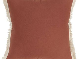 Rizzy Home Solid with Fringe 20 X20  Polyester Filled Pillow