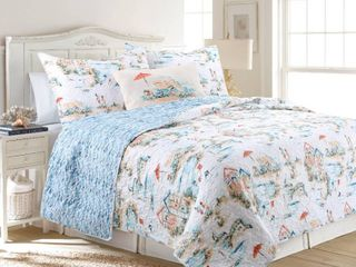 Beach Club Reversible Ultra Soft Microfiber Quilt Set   Full Queen