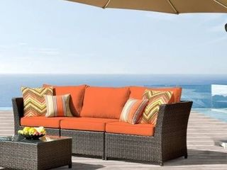 Kegashka 6 piece Patio Sectional Set with 2 Throw Pillows by Havenside Home   BOX 1 OF 2