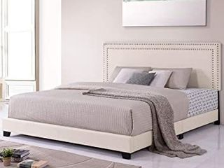 Milan Upholstered Platform Bed with Wooden Slats and Nailhead Detail  King  Retail 316 99