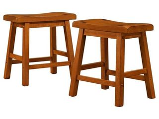 Salvador saddle back 18  stool backless oak finish   Set of 2