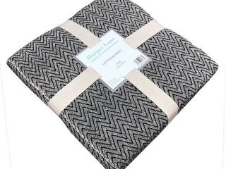 Barry Navy White Cotton Blanket  Twin