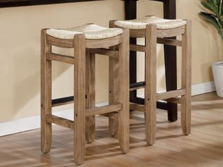 The Gray Barn Enchanted Acre 30 inch Wood Bar Stools with Rush Seats  Set of 2  Retail 189 49