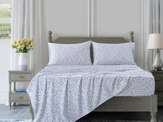 Country living Vintage Washed Blue Floral Sheet Set   King