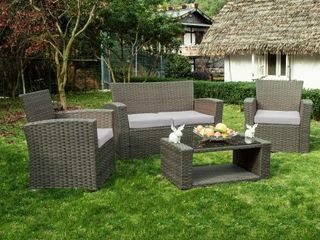 Delano 4 piece Outdoor Wicker Conversation Patio Set with Cushions  Retail 508 49