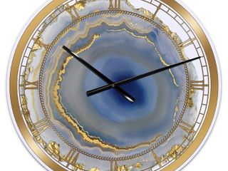 Silver Orchid Arbuckle  Golden Water Agate  Oversized Fashion Wall Clock   Retail 161 49