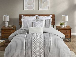 The Curated Nomad Clementina Geometric Cotton Duvet Cover Set   Full Queen   Retail 107 99
