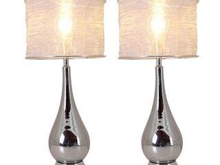 Tulip Big 30  Table lamp with Foldable   Translucent Silver Yarn lampshade  Set of 2  Retail 138 49