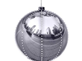 Alpine Silver Xmas Ball Ornament  240 Chasing lED lights  13 Inch