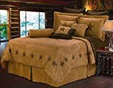 HiEnd Accents luxury Star Brown Faux Suede 7 piece Comforter Set  King   Retail 264 99