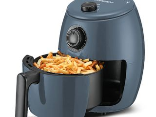 Elite Gourmet 2 1qt Hot Air Fryer with Adjustable Timer and Temperature for Oil free Cooking  Blue Grey