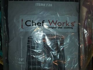 Chef Works Men s Half Bistro Apron Black W white Pinstripe One Size