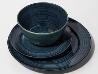 One Dinner Plate is broken   Stoneware 12pc Brushstrokes Dinnerware Set Deep Teal   ThresholdA