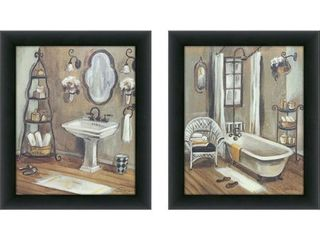 Bathroom 3 Framed   Canvassed Wall Art  Set of 2