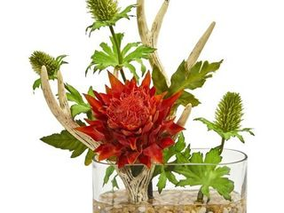 Tropical Flower and Antlers Artificial Arrangement