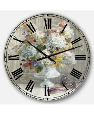 Rustic Florals White Oversized Wall Clock  Retail 134 99