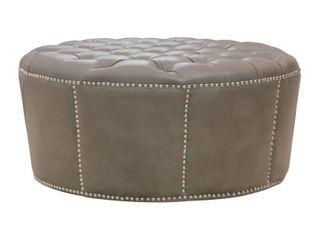 Grey leather Round Ottoman  Retail 330 99